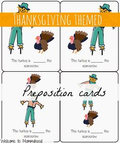 Thanksgiving activities: Free prepositions printables by Welcome to Mommyhood #thanksgivingactivities