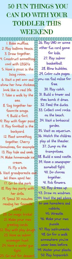 50 Fun Things You Can Do With Your Toddler This Weekend Visit a great parenting advice community and have your voice be heard. upload your parenting videos today Toddler Play, Baby Play, Baby Kids, Toddler Learning, Toddler Girl, Infant Activities, Learning Activities, Activities For Kids, Weekend Activities