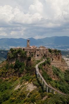 Civita di Bagnoregio, province of Viterbo, region of Lazio, Italy. Barely inhabited anymore; you can only get there on this walkway