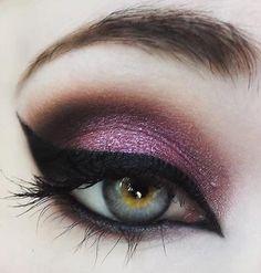 Purple, black eye make-up