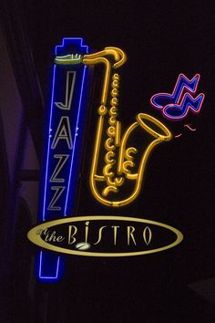The iconic Jazz at the Bistro neon sign.