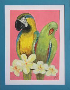 Framed Parrots Painting Nursery/Children's by CreatedbyMeko, $45.00