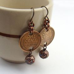 Wheat penny earrings, multicolor blue glass beads, US coin, copper dangle