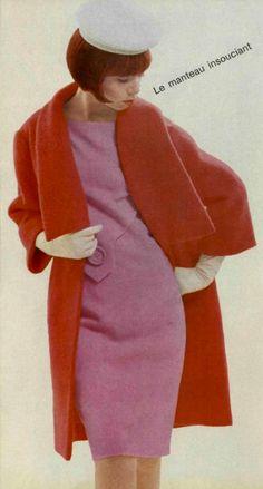 1964 Pierre Cardin 60s pink dress red coat jacket mod hat gloves color photo print ad model magazine