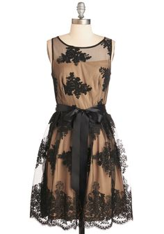 Splendid it My Way Dress. As you take a bow in this ravishing black and champagne frock, you feel certain that both your show and your ensemble were a hit! #wedding #bridesmaid #prom #modcloth