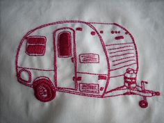 Our trailer will now need a set of embroidered camper linens. Thanks Pinterest.