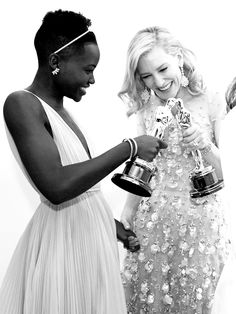 inspiration | lupita nyong'o + cate blanchett | kissing oscar statues | repin via: raphaelle seraphina