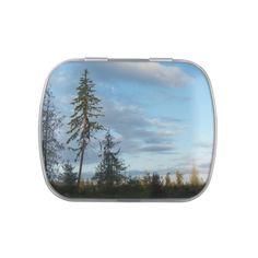 Calm Blue Skies Candy Tin #calm #blue #sky #skies #tree #scenery #candy #tin #zazzle $6.37