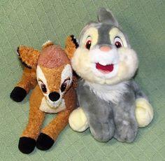 "Disney Store THUMPER & BAMBI Plush 12"" & 11"" Stuffed Rabbit Deer Animal Toys  #DisneyStore"