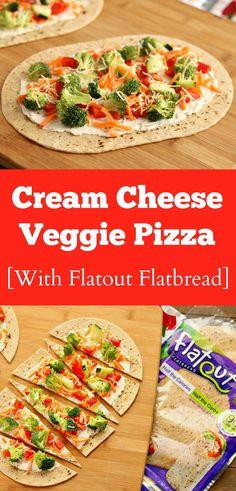 cream cheese veggie pizza made with Flatout Flatbread via www.chocolateslopes.com