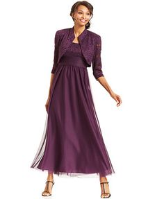 R&M Richards Glitter Lace Empire-Waist Gown and Jacket, Macy's - Size 8-18, $132, nice color for moms