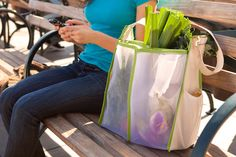Now you can shop without dropping. Mercado is the ultimate farmer's market bag, with pockets to protect delicate fruits and veggies, loops to hold bottles in place, and compartments to keep everything organized. A wide adjustable strap lets you choose the right length for carrying, so that you're as comfortable as your produce!