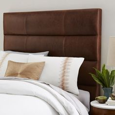 Panel Tufted Premium Leather Headboard | West Elm    Need To DIY This ASAP