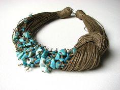 NatuRal TuRqUoiSe - BIG linen necklace. $48.00, via Etsy.