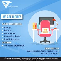 Are you looking to join team Vaistra? We've got multiple opportunities going on at the moment. If you or anyone you know might be a good fit, email your resume to kalpesh@vaistratechnologies.com 📧 #hiring #jobs #jobsearch #recruitment #career #employment #recruiting #work #hiringnow #jobseekers #resume #business #jobopening #jobhunt #jobseeker #interview #applynow #vacancy #recruiter #jobopportunity #jobinterview #jobsearching #vaistra #teamvaistra #vaistratechnologies Hiring Now, We Are Hiring, React Native, Job Opening, Job Search, Software Development, Technology, Resume, Tecnologia