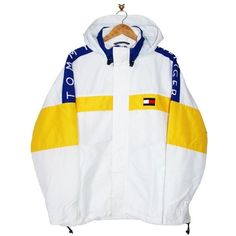Tommy Hilfiger Nylon Sailing Jacket Size Medium 92 Vintage (1,395 MXN) ❤ liked on Polyvore featuring outerwear, jackets, tops, coats & jackets, colorblock jackets, color block jacket, nylon jacket, vintage jackets and white nylon jacket