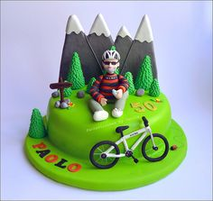 28 Trendy ideas for mountain bike cake ideas Bicycle Cake, Bike Cakes, Dad Cake, 50th Cake, Mountain Bike Cake, Mountain Biking, Dad Birthday Cakes, Sport Cakes, Gateaux Cake