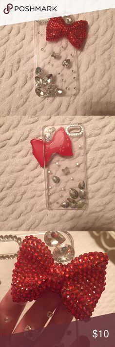 Sparkly Red Bow iPhone 5 Case Snap on case for iPhone 5/5s. Features a cute red bow and rhinestones. Glue is yellowed but only noticeable from the inside. Not Kate spade. kate spade Accessories Phone Cases