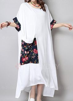 Casual Women Floral Printed Pocket Patchwork Asymmetric Linen Dress is fashionable and cheap, come to NewChic to see more trendy Casual Women Floral Printed Pocket Patchwork Asymmetric Linen Dress online. Abaya Fashion, Suit Fashion, Boho Fashion, Fashion Dresses, Plus Dresses, Casual Dresses, Simple Gown Design, Mode Kimono, Simple Gowns