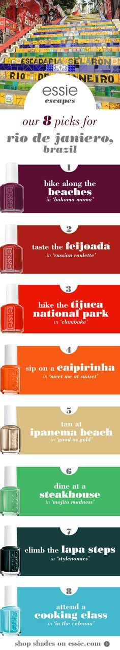 escape to Rio de Janeiro, Brazil with the perfect essie polish -- whether you want to sip on a caipirinha in 'meet me at sunset', attend a cooking class in 'in the cab-ana' or bike along the beaches in 'bahama mama', we have the perfect mani color curated for you and your Brazilian adventures!