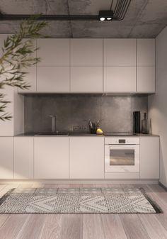 AN_Apartment on Behance Small Apartment Design, Apartment Interior Design, Bathroom Interior Design, Kitchen Interior, Living Tv, Latest House Designs, Home Room Design, Minimalist Kitchen, Küchen Design