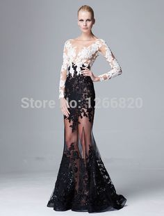 Find More Evening Dresses Information about 2014 new Zuhair Murad Spring Evening Dress White and Black Appliques Long Sleeves Mermaid Tulle Celebrity Dress Evening  Gown,High Quality Evening Dresses from Sao Tome Garments Co., Ltd. on Aliexpress.com