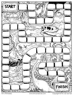 Board games 587508713873825269 - Board Game Template – Dinosaurs by Tim's Printables Board Game Themes, Board Game Design, Board Games For Kids, Kids Board, Blank Game Board, Board Game Template, Printable Board Games, Diy Board Game, Homemade Board Games