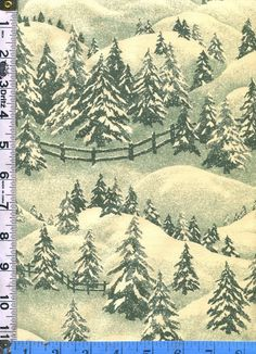 FAbric RJR Thimbleberries WINTER PINES Snowy day pine trees Evergreens Green on cream Christmas landscape