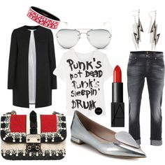 Punk's Not Dead! A fashion look from January 2015 featuring R13 t-shirts, Joseph coats and 7 For All Mankind jeans. #ootd #fashion