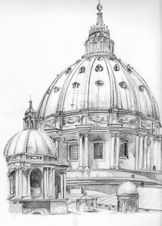 Cupula de San Pedro de Vaticano by miguelmayllon.dev… on Dome of Saint Peter of Vatican by miguelmayllon.dev … on Interior Architecture Drawing, Architecture Drawing Sketchbooks, Architecture Concept Drawings, Watercolor Architecture, Pencil Art Drawings, Art Drawings Sketches, Drawings Of Buildings, Building Drawing, Deviantart