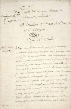Motion de M. le Marquis de La Fayette relativement à la Déclaration des droits de l'homme et du citoyen (1789).