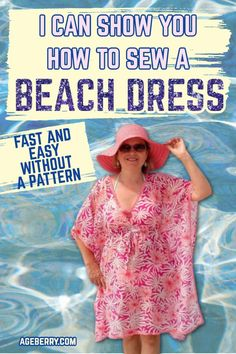 If you are looking for an easy DIY beach cover up dress for beginners free here is my sewing tutorial on DIY beach dress swimsuit cover. Check out these tips for making a beach dress DIY cover up with a simple free sewing pattern you can draw right on your fabric. Learn how to sew summer dresses, how to make a dress step by step without a pattern, how to make dress cutting. Sewing For Beginners Diy, Sewing For Dummies, Dress Sewing Tutorials, Easy Sewing Patterns, Sewing Tips, Sewing Ideas, Sewing For Kids, Free Sewing, Beach Coverup Pattern