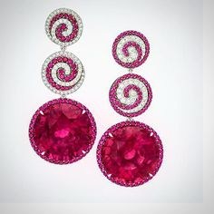 Mesmerize your Valentine with these extraordinary Rubellite Tourmalines 74.77cts with Rubies and Diamonds #neimanmarcus #preciousjewels