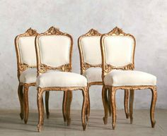 One of a Kind Vintage Parisian French Style Shabby Gilt Chairs Set of 4. #FrenchGardenHouse.com #Antique #French #Chair #Furniture