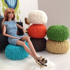Exclusive Handknitted Pouf Ottoman for sixth by ModernMiniHomes