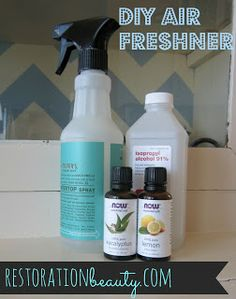 Restoration Beauty: DIY Air Freshener cup water tablespoons alcohol, vodka or rubbing alcohol (although I think 1 would be better) drops essential oil/s (I used 25 drops of lemon and 15 drops eucalyptus- lovely combination) - mix alcohol and Diy Air Freshner, Natural Air Freshener, Homemade Air Freshener, Room Freshener, Linen Spray, Natural Cleaning Products, Diy Products, Beauty Products, Homemade Products