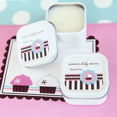 Event Blossom offers these Personalized Square Candle Tins - Cupcake Party and other unique and creative wedding favors and special event favors among its trendy product line. Candle Wedding Favors, Candle Favors, Personalized Wedding Favors, Wedding Party Favors, Wedding Reception, Cupcake Candle, Cupcake Party, Square Cupcakes, Square Candles