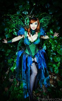 Amazing whimsical photo of my Absinthe Fairy by the effervescent LJinto!! We happened by this wall of fauna on our walk to a photoshoot so I had to love on it!  Costume was designed and made by me. I'm especially happy with this photos because you can see that the wings indeed light up.  More on the construction of this costume on my website.
