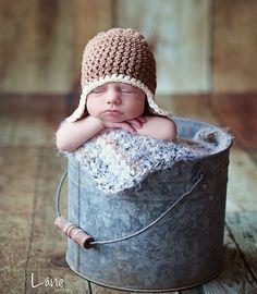 Image of Newborn Baby Earflap Hat in Light Taupe and Ecru