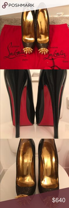 Christian Louboutin Sky High Pumps w/ gold spikes Christian Louboutin Black Patent Leather Sky High Pumps with gold spikes and crystals. Comes with 2 dust bags and replacement heel tips. Says 39 but fits size 8. Worn once. Christian Louboutin Shoes Platforms
