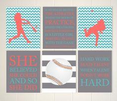 Softball girls room wall art, teen girl gift idea, softball wall art, tween girl wall art, inspirational art for girls, baseball, set of 6 by PicabooArtStudio