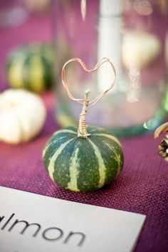 Rustic Fall Wedding Ridiculous detail and might look cheap, but COULD be done well.use for place card holders, possibly with the painted mini pumpkins. Wedding Blog, Diy Wedding, Rustic Wedding, Dream Wedding, Wedding Ideas, Fall Wedding Decorations, Wedding Table Centerpieces, Wedding Gift Boxes, Wedding Gifts