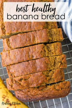 Mar 2020 - The Best Healthy Banana Bread Recipe! Moist, sweet and soft with rich banana flavor and a touch of cinnamon. This banana bread is easy to make in one bowl. You can add chocolate chips or nuts to this simple recipe. Best Healthy Banana Bread Recipe, Healthy Bread Recipes, Moist Banana Bread, Banana Bread Recipes, Healthy Baking, Healthy Snacks, Cooking Recipes, Blueberry Bread, Healthy Sweets