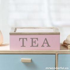 Caja de madera para bolsitas de té – Color rosa #tea #kitchen #cocina #decor