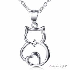 Anhänger Katze  mit Herz  925 Silber mit Zirkonia inkl....