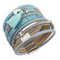 2017 New Fashion Multilayer Rhinestone Leather Tassel Friendship Bracelet Bangle Magnetic Jewelry for Women Pulseira Feminina