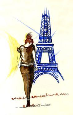 Paseando por #Paris #ilustracion #acuarela #tinta