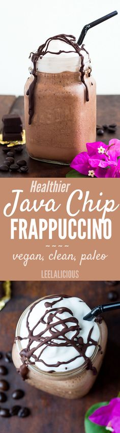 My Copycat Starbuck's Java Chip Frappuccino recipe is a healthier version of the popular iced coffee indulgence. This homemade coffee chocolate shake is dairy-free (coconut milk & cream) and naturally sweetened with only a little maple syrup.