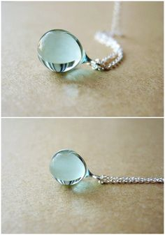 Sterling silver Necklace Light Blue Mermaid tears Water Drop Color Glass
