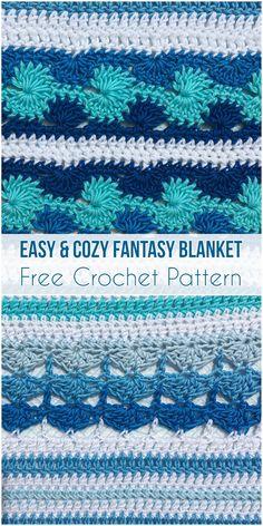 Easy & Cozy Fantasy Blanket Free Crochet Pattern #freecrochetpatterns #crochetlove #babyblanket #handmade #homedecor #stitch #yarn